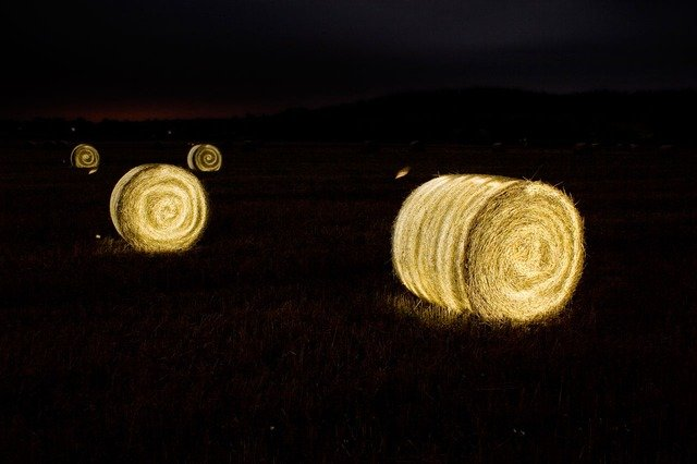 Golden Bales of Straw in a field at night
